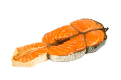 Smoked salmon. Isolated on white Royalty Free Stock Photography