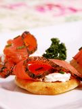 Smoked salmon. Marinated smoked salmon appetizers  with chease Stock Images