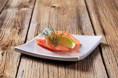 Smoked salmon appetizer Royalty Free Stock Photo
