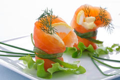 Smoked salmon , appetizer Royalty Free Stock Photography
