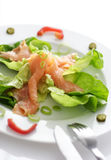 Smoked salmon appetizer. Smoked salmon and lettuce stock image