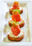 Smoked salmon appetizer Stock Photography