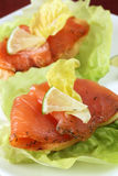 Smoked salmon appetizers Royalty Free Stock Images