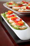 Smoked salmon appetizers. Delicious appetizers with smoked salmon and vegetables stock image