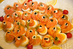 Smoked Salmon Appetizers on Platter Royalty Free Stock Images