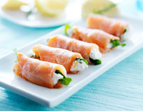 Smoked salmon and arugula wrap Royalty Free Stock Photography