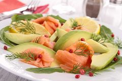 Smoked salmon and avocado Stock Images
