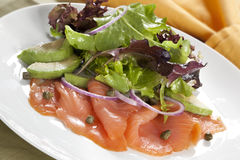 Smoked Salmon and Avocado Salad Stock Images