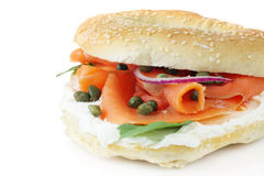 Smoked Salmon Bagel Royalty Free Stock Image