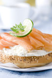Smoked Salmon Bagel Stock Photography