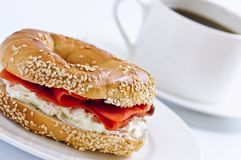 Smoked salmon bagel and coffee Stock Photography