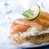 Smoked Salmon Bagel Royalty Free Stock Photography