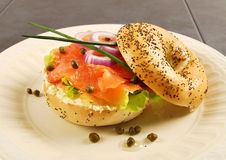 Smoked salmon bagel sandwich Royalty Free Stock Photos