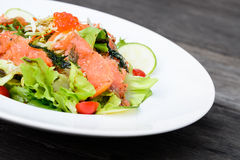 Smoked salmon balsamic vinegar salad Stock Image