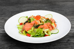 Smoked salmon balsamic vinegar salad Royalty Free Stock Photo