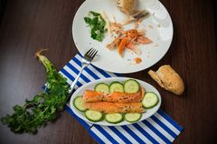 Smoked salmon belly strips with cut cucumber on two plates, one is almost consumed. Bread, coriander herb and blue-white napkin on wooden table Royalty Free Stock Photo