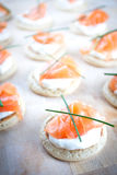 Smoked Salmon Blinis Royalty Free Stock Photography