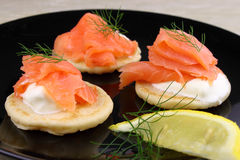 Smoked Salmon Blinis Stock Photos