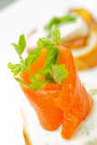 Smoked salmon on bread Stock Photography