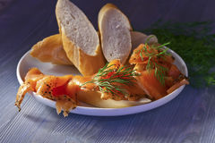 Smoked salmon with bread Royalty Free Stock Photography