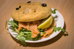 Smoked salmon bun Stock Image