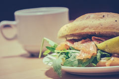 Smoked salmon bun close up Royalty Free Stock Image