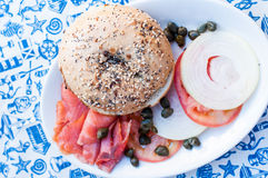 Smoked salmon burger Royalty Free Stock Images