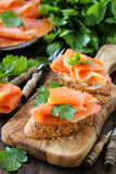 Smoked salmon canape Stock Images