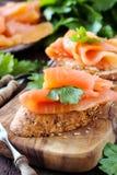 Smoked salmon canape Royalty Free Stock Photo