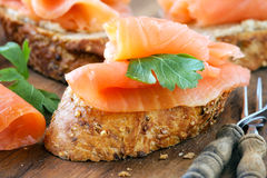 Smoked salmon canape Royalty Free Stock Photos