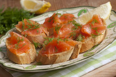 Smoked salmon canapes Stock Images