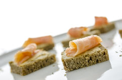 Smoked salmon canapes Royalty Free Stock Images