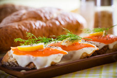 Smoked salmon canapes. Smoked salmon with capers canape ready to eat stock images