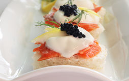 Smoked Salmon with Caviar Royalty Free Stock Photo