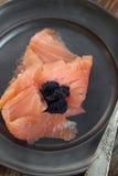 Smoked salmon and caviar. Royalty Free Stock Images
