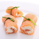 Smoked salmon with cheese Royalty Free Stock Image