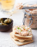 Smoked salmon and cheese spread, pate, crackers Royalty Free Stock Images