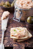 Smoked salmon and cheese spread, pate, crackers Royalty Free Stock Photos
