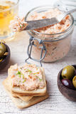 Smoked salmon and cheese spread, pate, crackers Royalty Free Stock Photo