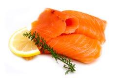 Smoked salmon close stock image