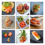 Smoked salmon collage Stock Photos