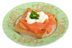 Smoked Salmon and Cottage Cheese on Wholemeal Toast Royalty Free Stock Images