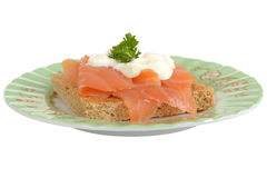 Smoked Salmon and Cottage Cheese on Wholemeal Toast Royalty Free Stock Photos