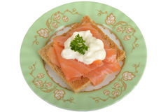Smoked Salmon and Cottage Cheese on Wholemeal Toast Royalty Free Stock Photography