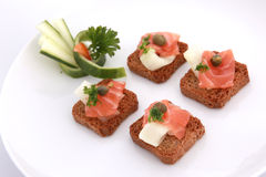 Smoked salmon crackers Royalty Free Stock Photo