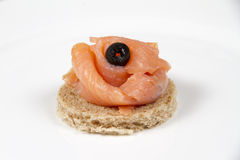 Smoked salmon and crackers Royalty Free Stock Images
