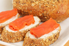 Smoked salmon and cream cheese Royalty Free Stock Photo
