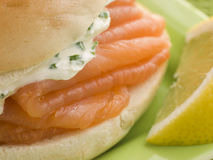Smoked Salmon and Cream Cheese Bagel Stock Photo