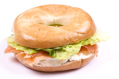 Smoked salmon and cream cheese bagel Stock Images