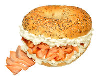 Smoked Salmon And Cream Cheese Bagel Sandwich Stock Photos